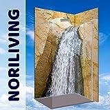 Original NORILIVING Eck-Duschrückwand Wasserfall Sandstein Felsen Mosaik, fugenlos, 2 Segmente á 90x200cm Alu-Verbundplatte, Rückwand, Bad-Verkleidung, Wandbild Fliesenersatz schimmelfrei