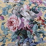Générique Swallowfield par Ramm 100% Coton Vintage Chintz Floral Mobilier Tissu - Jaune, Sample...