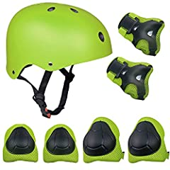 Idea Regalo - SKL Set di Casco, Ginocchiere, gomitiere e Guanti in Gel per Bambini, per Hoverboard, Scooter, BMX e Bicicletta (Verde)
