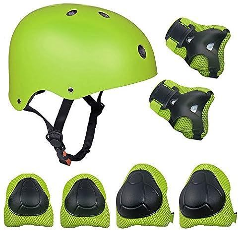 Topfire Kinder Scooter Hoverboard BMX Bike Helm, Hand-Knie, Ellenbogen Pads und Gel Pads - Grün