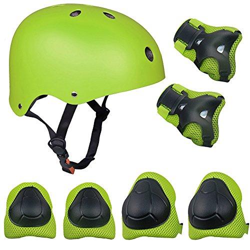 TOPFIRE - Set di casco, ginocchiere, gomitiere e guanti in gel per...