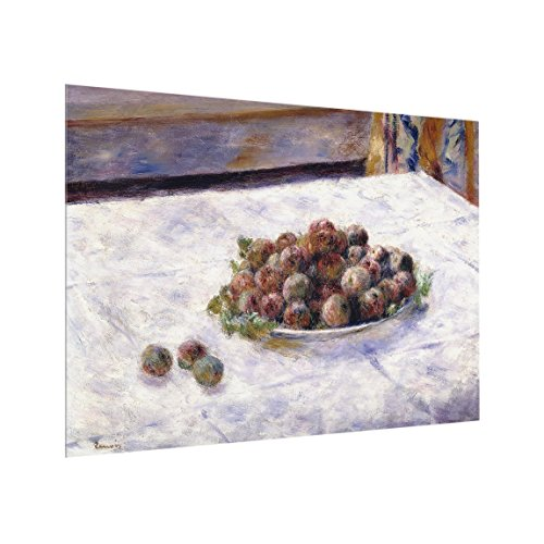 Spritzschutz Glas - Auguste Renoir - Teller mit Pflaumen - Quer 3:4, 59cm x 80cm
