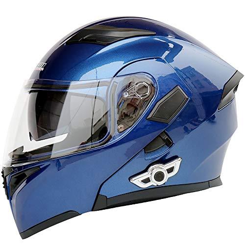 Lxc Exklusive Anpassung Anti-Fog Doppelobjektiv Motorrad Bluetooth Helm Elektrischer Motorradhelm Bequemer Atmungsaktiver Kontrabass Sicheres Fahren (Color : Blue, Size : XL)