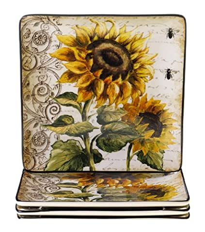 Certified International French Sunflowers Dinner Plate, 10.5-Inch, Set of 4