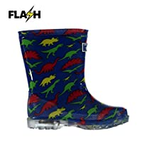 Crafted Kids Light Up Wellies Infants Wellingtons Print Textured All Over