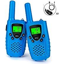 Debonice 2 Piezas Niños Walkie Talkie Recargable 446MHz 8 Canales 0.5W LCD Pantalla VOX y Linterna Incorporado (blue)