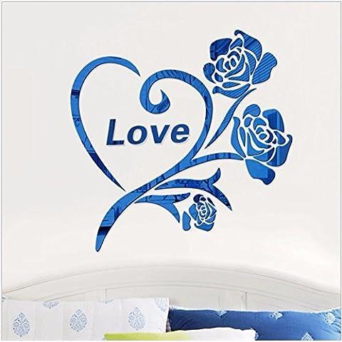 T-Mida Home,Sala de espejo de acrílico 3D estéreo pared pegatinas habitación se casó con su novia rose amantes de regalo decoración pintura pegar,Azul 50 * 50cm