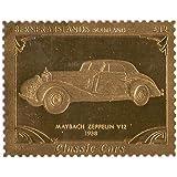Islas Bernera Escocia : Classic Cars - Maybach Zeppelin V12 1938 / Pan de oro sello / perforado . Valor nominal £ 12 / 1987 / Bernera / MNH