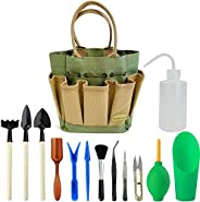 Garden Succulent Kit with Organizer Bag,Indoor Mini Hand Gardening Tool Set, 13 Pieces Tools for Bonsai Plante