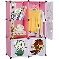 LANGRIA Regalsystem Kleiderschrank 6 Kubus Garderobenschrank Aufbewahrung Kleidung, Schuhe, Spielzeug und Bücher für Kinder Rosa