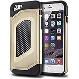 tinxi® Doppelt Silikon Schutzhülle für Apple iPhone 6/6s 4.7 zoll Silicon Rück Schale Tasche Cover Case Etui Schutz Kohlefaser in Gold Gelb
