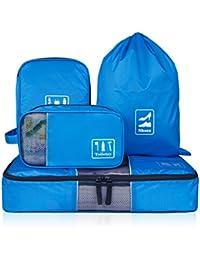 Organiseur de voyage d'Ecosusi composé de 4 sacs pour les voyages d'affaires (Organisateur pour vêtements, Sac pour les accessoires électroniques, Trousse de toilette, Sac à chaussures)