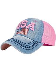 Kukul Gorras Para Mujer y Hombre Bandera Estadounidense Gorras Para Tenis, Béisbol, Ciclismo y otros deportes (Rosa)