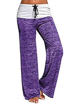 BLACKMYTH Mujer Casual Cordón Yoga Pants Pierna ancha Suelto Pilates Pantalones Largo
