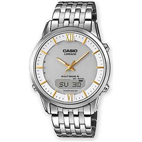 CASIO LCW-M180D-7AER - Reloj analógico y digital de cuarzo con correa de acero inoxidable para hombre, color