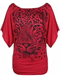 New Ladies Leopard Tiger Animal Print Short Batwing Sleeve T-Shirt Womens Short Sleeve Printed Stretch Fit Top Plus Size