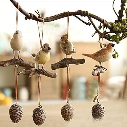 LQK-Regali creativi americano stakes uccelli Pine Cone artigianato resina appeso insieme di ciondolo di resina 4
