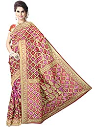 5d5ff9a3769ef Kala Sanskruti Women s Red Pure Art Silk Bandhej Printed Saree