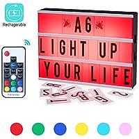 Caja de Luz,CrazyFire Cambio de Color Lightbox A6, Batería Recargable Cinematic Led Box con 140 Cartas y Emojis (7 Colores)