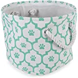 """DII Bone Dry Small Round Pet Toy And Accessory Storage Bin, 12""""(Dia) X 9""""(H), Collapsible Organizer Storage Basket For Home Décor, Pet Toy, Blankets, Leashes And Food-Aqua Lattiec Paw Print"""