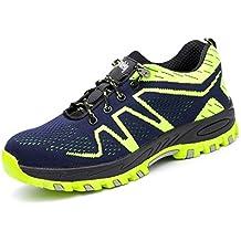 tqgold Zapatillas de Seguridad para Hombre Mujer, Zapatos de Trabajo con Punta de Acero