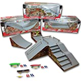 Grip & Tricks - 3 Rampas para Finger Toy - HALFPIPE - FUNBOX - QUATERPIPE - Fingerboard - Cruiser Board : Dimensions: 28 X 12 X 10 cm
