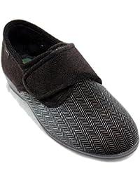 9d03a950e00 Doctor Cutillas 765 - Zapatillas Cerradas Anchas con Velcro Marrón Oscuro y  Textura Marrón Claro