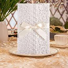 Hochzeit EinladungsKarten,Glückwunsch Und Einladung, 20 Stück DIKETE®  Elegante Blume Spitze 4 In