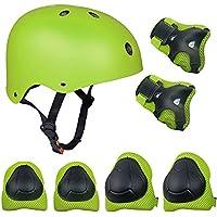 Set di casco, ginocchiere, gomitiere e guanti in gel per bambini, per hoverboard, scooter, BMX e bicicletta (Verde)