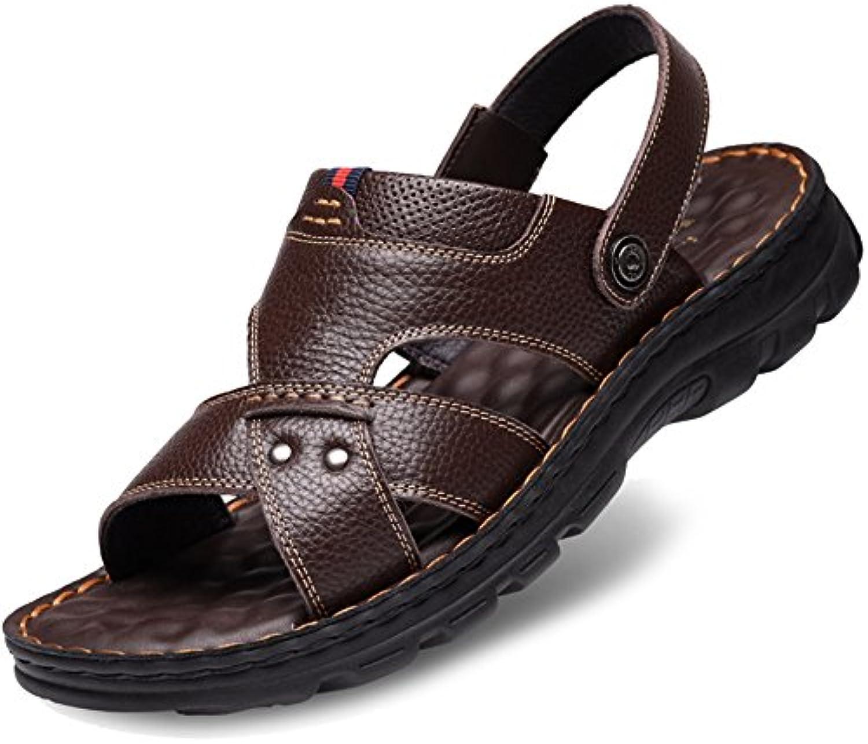 MERRYHE Chaussures Plat en Cuir Véritable Chaussures MERRYHE D'été  s De Plage des Hommes Pantoufles De La Piscine Open-Toe...B07DRHY3Z5Parent a86b2a