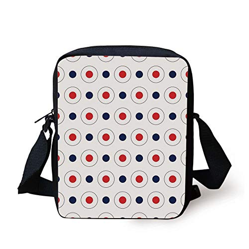 CBBBB Retro,Vintage Pop Art 60s Style Dots Circles Rounds with Inner Details Art Decorative,Red Dark Blue and White Print Kids Crossbody Messenger Bag Purse -