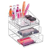 MetroDecor mDesign Organizer per Cosmetici impilabile per toeletta e Bagno – Portatrucchi con 2 cassetti in plastica – Porta Trucchi componibile con 15 Scomparti – Trasparente