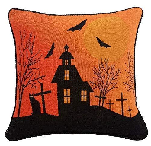 2 X Gefüllt Halloween Spooky Haus Schwarz Orange Wandteppich samt 18