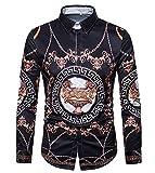 Versaces Männer Baumwolle Hemd Revers Digital Europäischer und amerikanischer Stil Drucken Lange Ärmel Hemd, Black, M