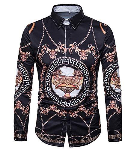Versaces Männer Baumwolle Hemd Revers Digital Europäischer und amerikanischer Stil Drucken Lange Ärmel Hemd, Black, XXXL