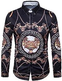 Versaces Hombres Algodón Camisa La Solapa Digital Estilo Europeo y Americano Imprimir Manga Larga Camisa,