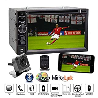 Car Stereo Double Din CD DVD Player AUX Radio FM/AM USB Support PhonelInk Bluetooths Touchscreen and HD Backup Camera