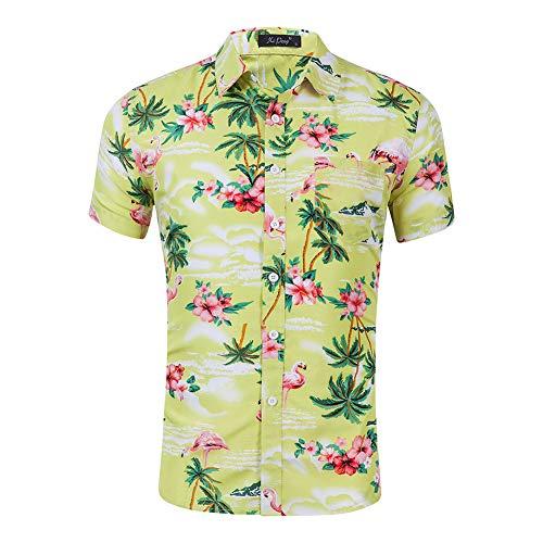 WODENINEK Hawaii Herrenhemd Kurzarm Lässig Aloha Persönlichkeit Flamingo Drucken Urlaub Strand Party Groß,Yellow,XXL -