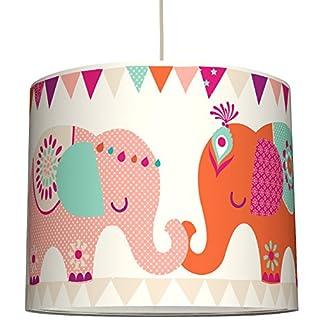 anna wand Lampenschirm ELEFANTEN GIRLS – Schirm für Kinder/Baby Lampe mit Elefanten in versch. Farben – Sanftes Licht für Tisch-, Steh- & Hängelampe im Kinderzimmer Mädchen & Junge