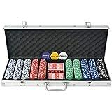 vidaXL Jeu de Poker avec 500 Jetons Aluminium Multicolore Dés de Casino Maison