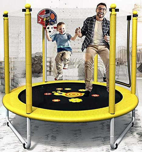 SXTYRL Trampolines para niños Interior, trampolin Cama Elastica Interior/Exterior Jardín Adultos Niños Hoja de Salto, Red de Seguridad, Postes de Red Acolchada, Yellow