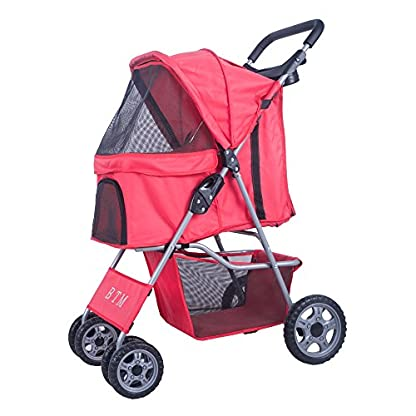 BTM Pet Travel Stroller Dog Puppy Pram Jogger Cat Pushchair with 4 Swivel Wheels (Red) 1