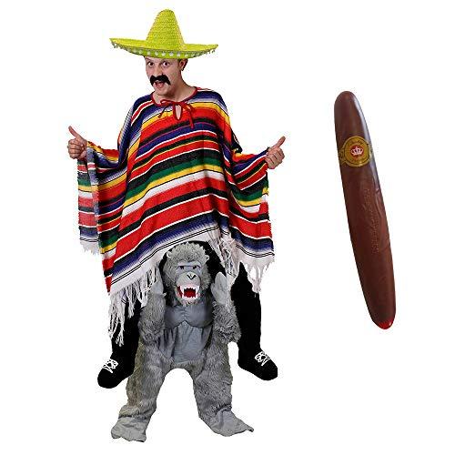 ILOVEFANCYDRESS Gorilla -Pick ME UP (TRAGE Mich)(HEBE Mich HOCH) KOSTÜME VERKLEIDUNG = Gorilla+Poncho+GELBER Sombrero+Plastik ZIGARRE+Schnurrbart =Fasching Karneval Halloween Unisex (Gelbe Gorilla Kostüm)