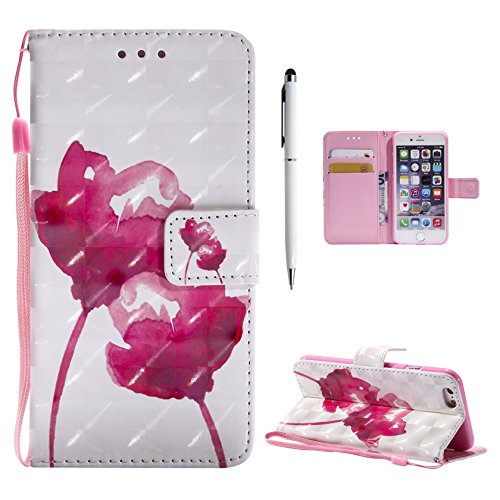 Custodia Cover per iPhone 6 Plus / iPhone 6S Plus Cover Pelle, Libro Portafoglio Elegante 3D Disegno Colorate Wallet Case, Hancda Custodia Flip in Pelle Antiurto Stand Book Con Magnetica Porta Carte d Fiori Rosso