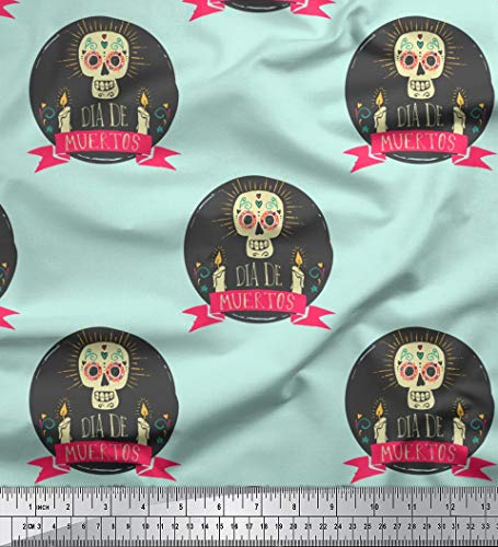 Soimoi Grun Kunstseide Stoff Text & Schädel Halloween Dekor Stoff gedruckt 1 Meter 42 Zoll breit
