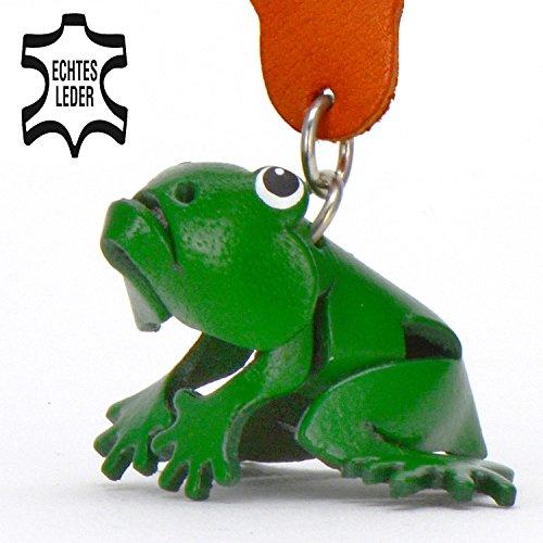 Frosch Fridolin - Deko Schlüsselanhänger Figur aus Leder in der Kategorie Kuscheltier / Stofftier / Plüschtier von Monkimau in grün - Dein bester Freund. Immer dabei! - ca. 5cm klein (Outdoor-jacke Absolute)