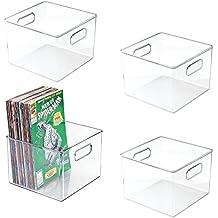 mDesign Juego de 4 cajas organizadoras de plástico cuadradas – Cajas para cómics, revistas,