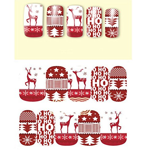 OULII 10pcs Nail Art Stickers arbre de Noël/Deer concevoir Noël neige Nail Art autocollants Stickers décoration