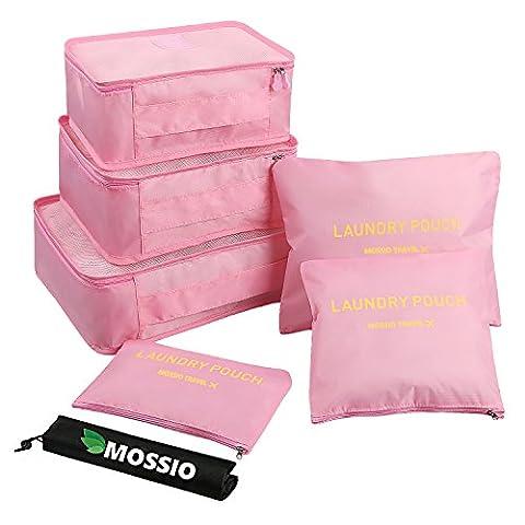Mossio 7 Set emballage Cubes avec Shoe Bag - Compression Voyage bagages Organisateur (Rose clair)
