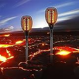 Samoleus 96 LEDs Torce da giardino Lampioni da Giardino Solari, Illuminazione Giardino Luci Solari da Esterno, Lampade Solari da Giardino, IP65 Impermeabile, Bianco Caldo (1.76-2 Pezzo)